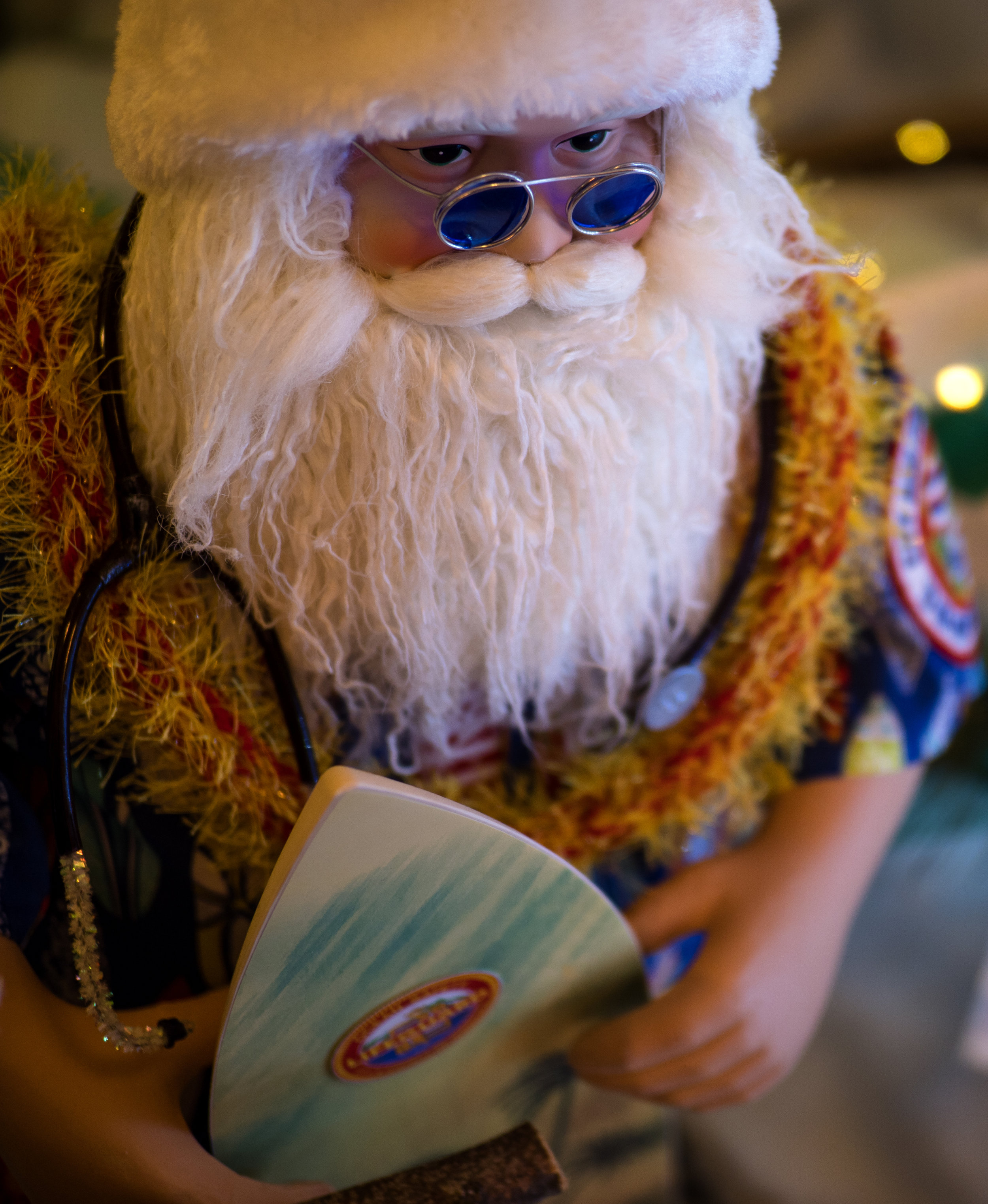 Musings by the Glass - Eggnog and Malasadas - Hawaii Santa with Surfboard