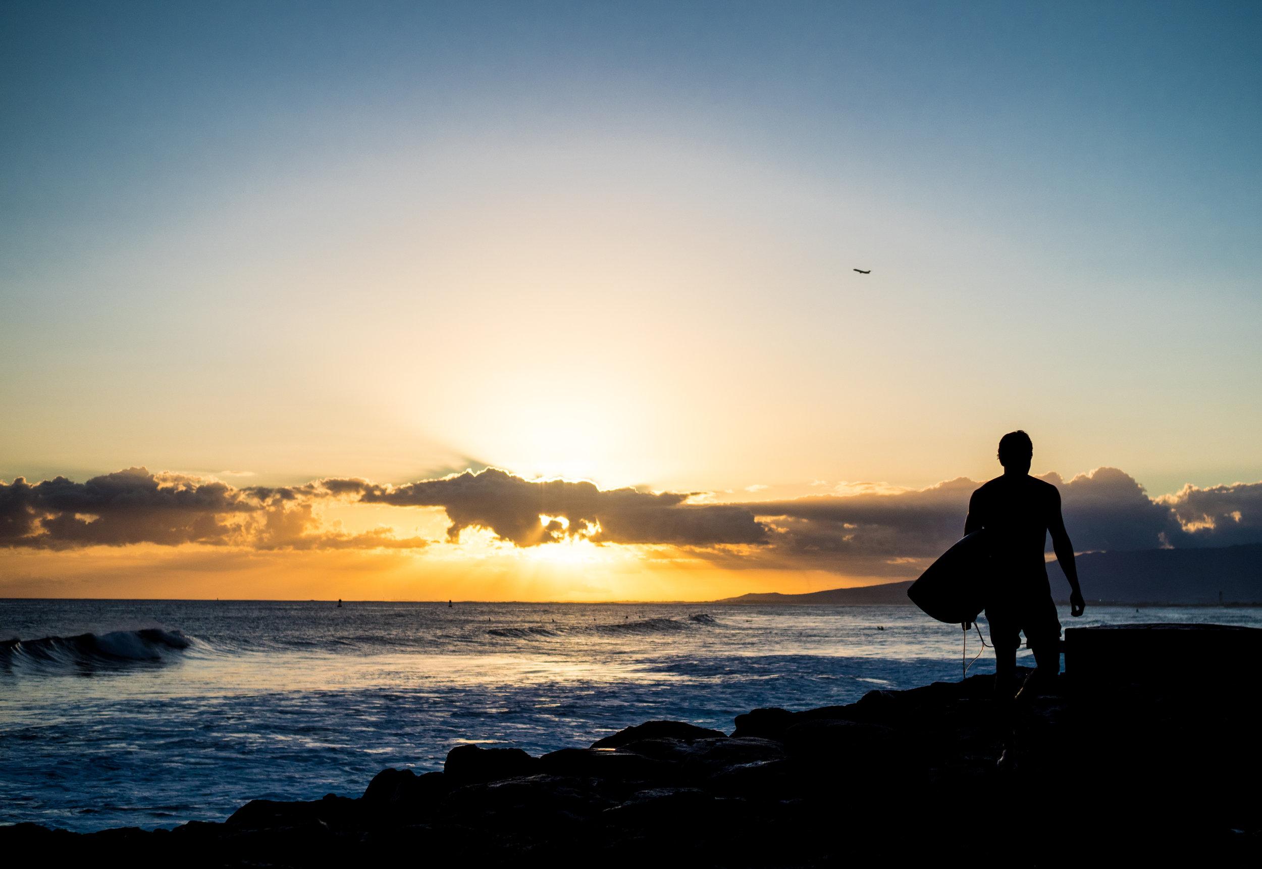 Musings by the Surf - Sunset Surf at Kaka'ako Waterfront Park, Honolulu, Hawaii