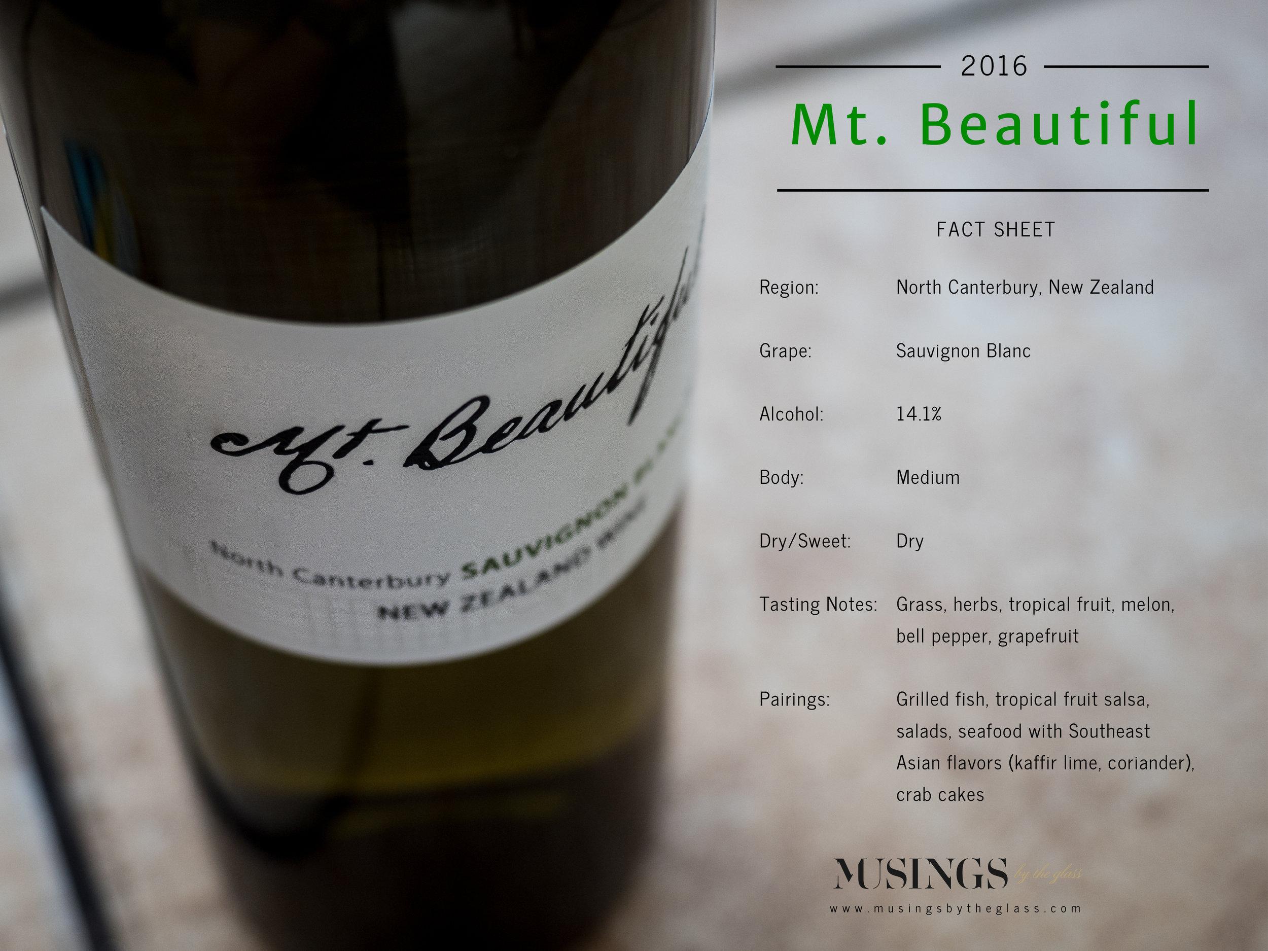Musings by the Glass - The Pineapple-Kiwi Combination - Mt. Beautiful Sauvignon Blanc Fact Sheet