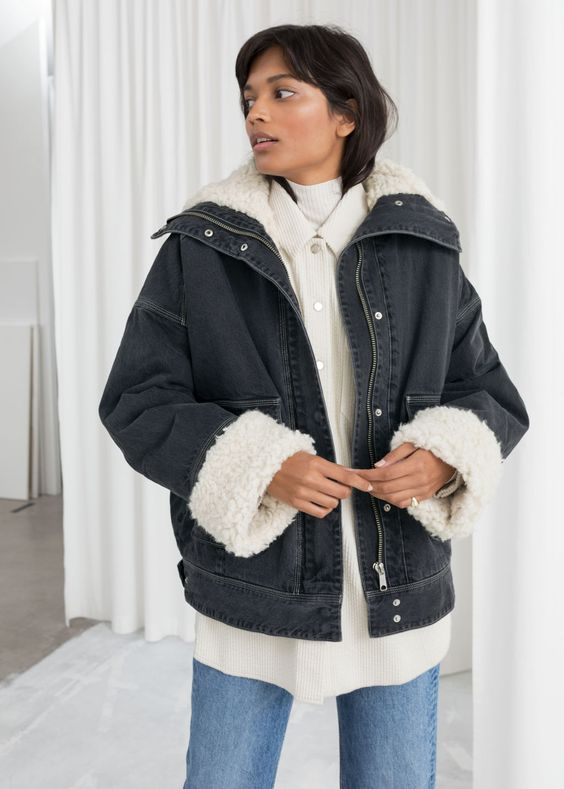 5.  & Other Stories Denim Faux Shearling Jacket  - $179