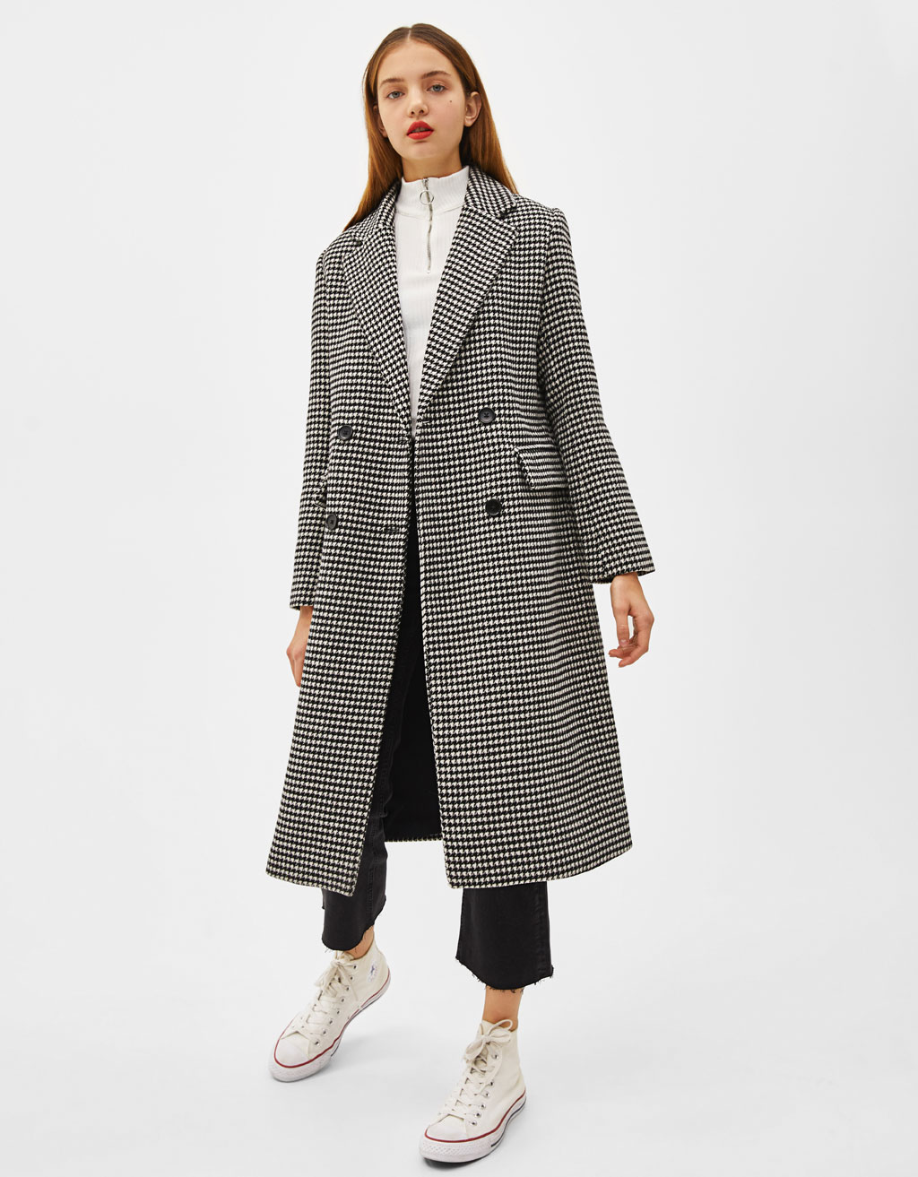 8.  Berhska Long Houndstooth Coat  - $119