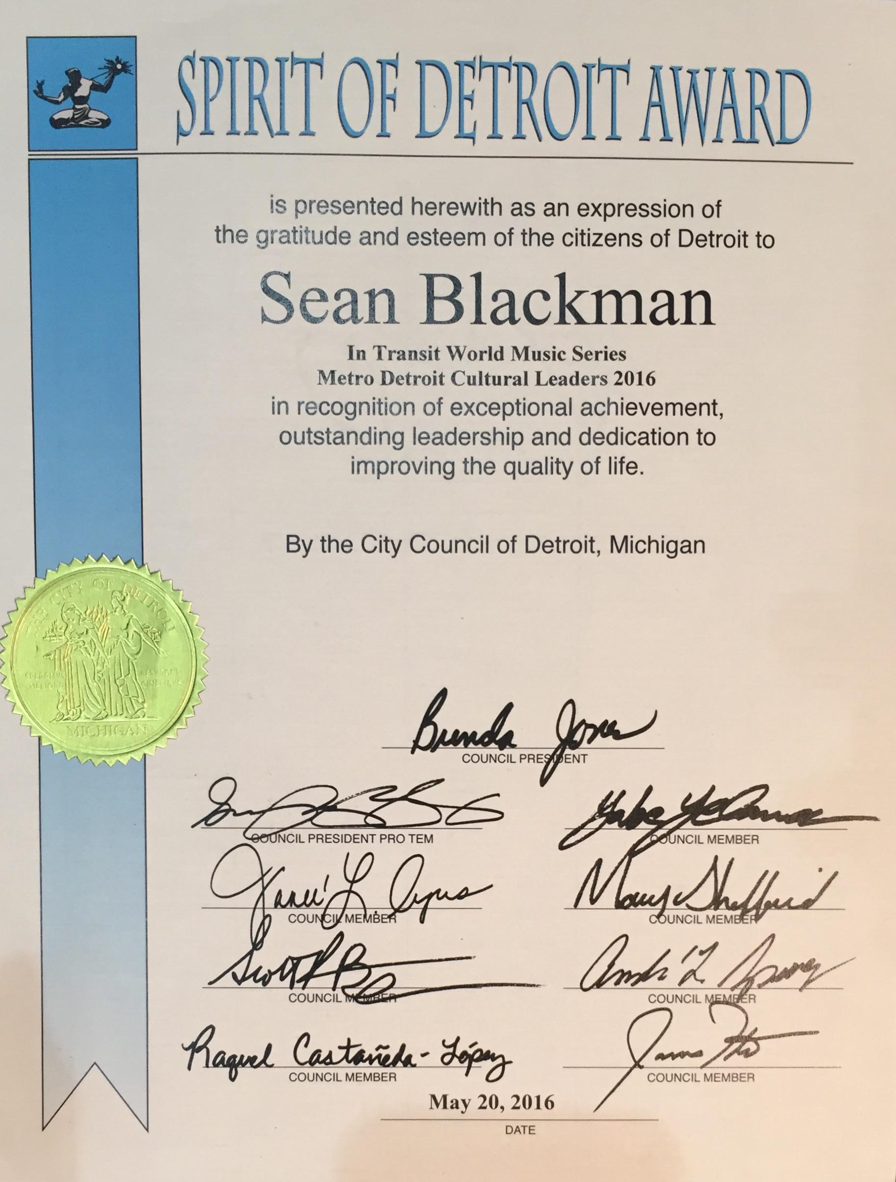 Sean Blackman In Transit Spirit Of Detroit Award