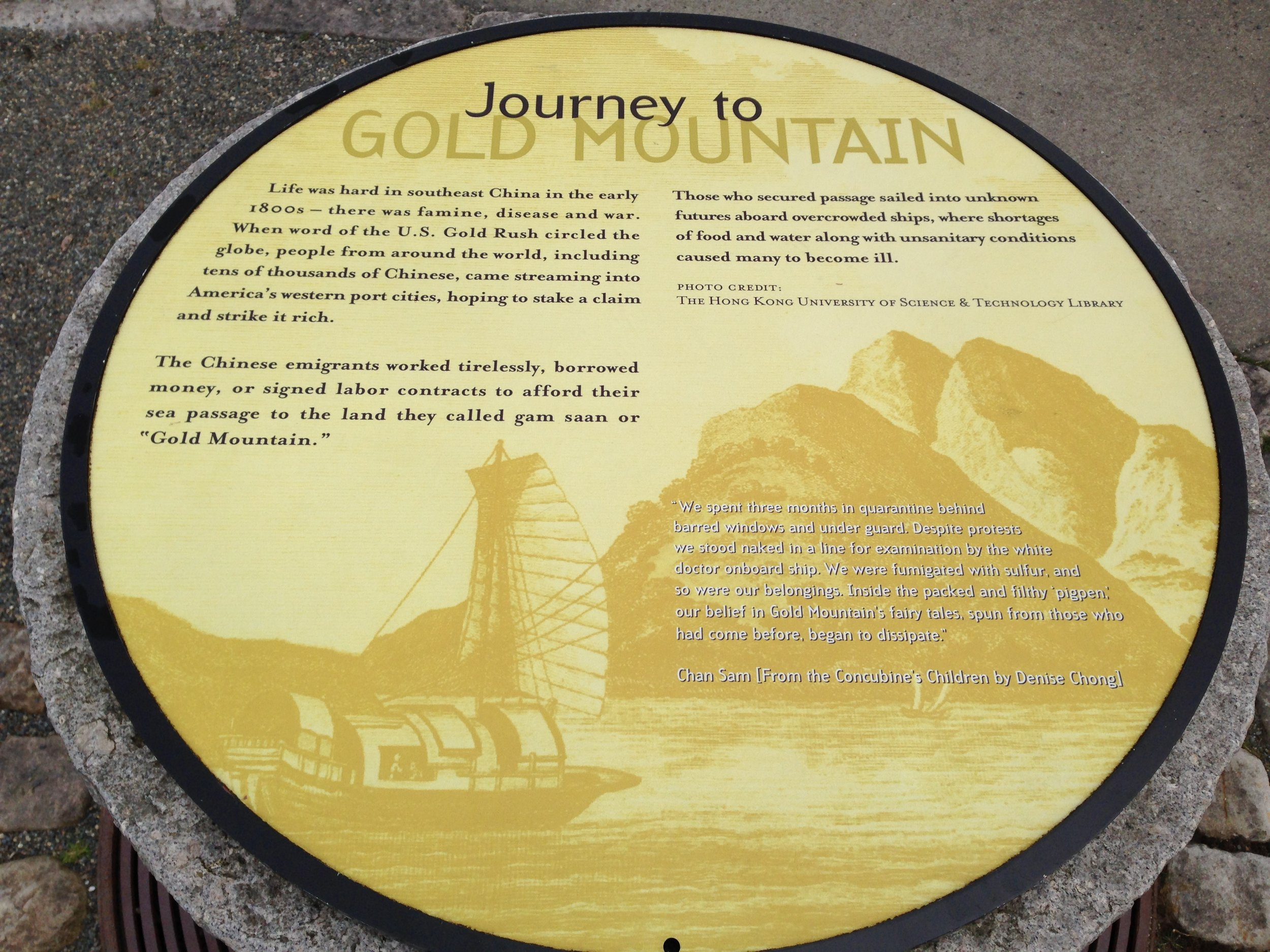 Plaque detailing the story of Chinese immigration to the American West. Cesare Bigolin.