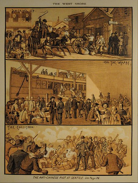 An artist's rendition of the Seattle riot of 1886, from  The West Shore magazine, March 1886.  Wikimedia Commons .