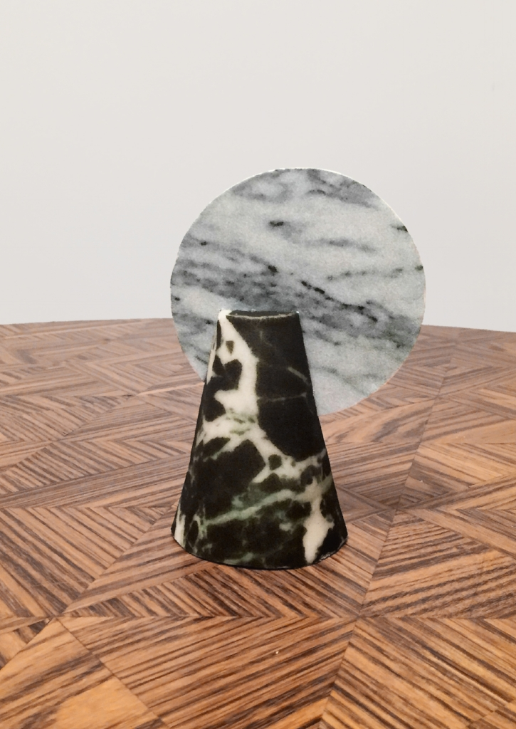 Cone cake, black and white marble prints.