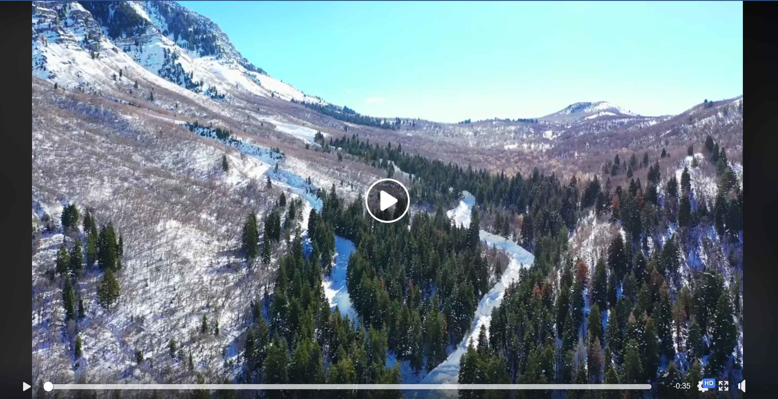 """Video on Facebook  by Matt Galland – """"The True power of Nature. Aftermath of Cascade avalanche in Provo, Ut. 2019."""" Video shot from a drone showing more close-up perspective of the run-out zone. Again, it's amazing the height of the slide path as gauged by how relatively small Matt is. He estimates the depth to be about 40 feet. (Posted on FB Feb. 1, 2019.)"""