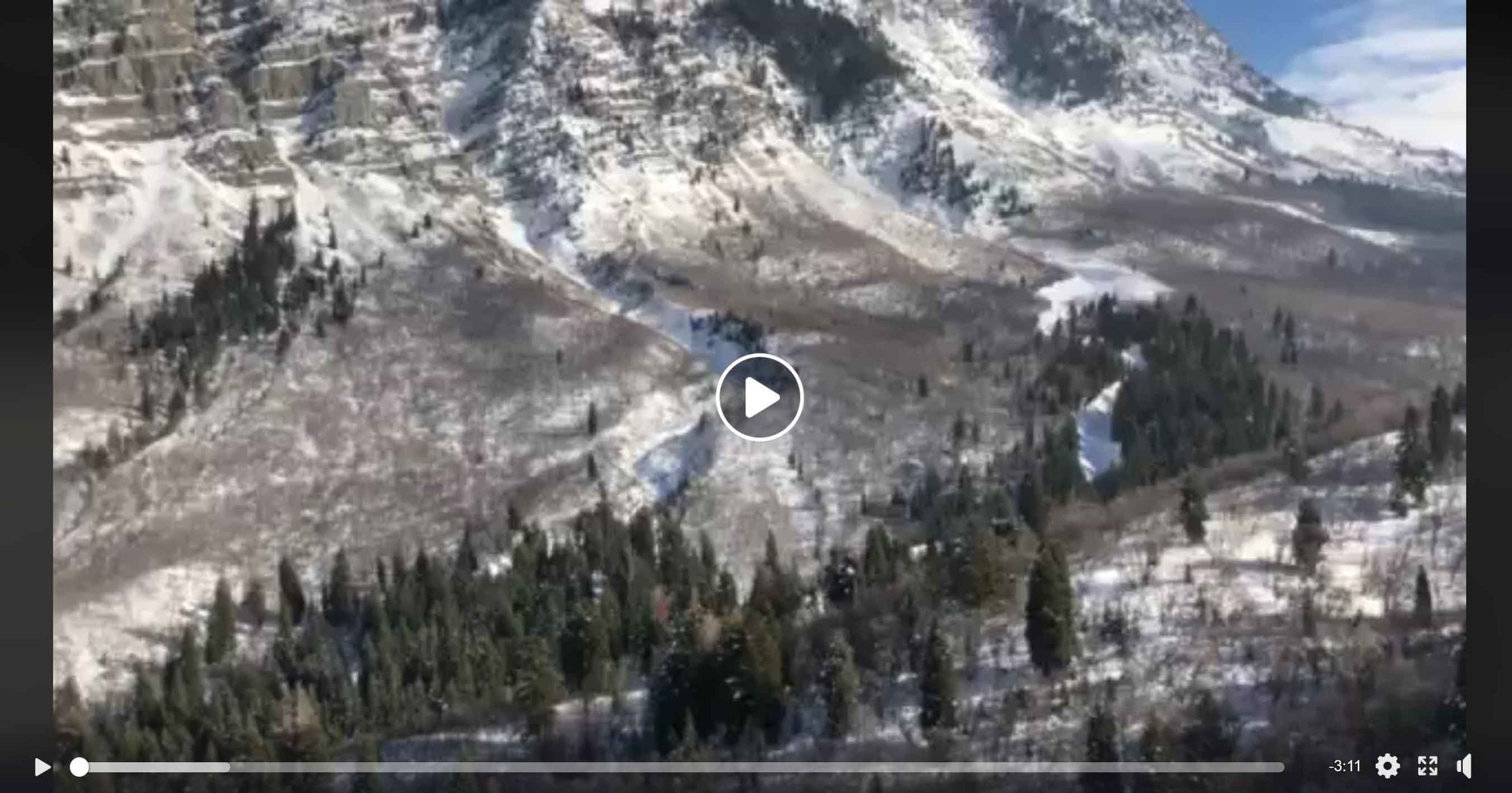 """Video on Facebook  by Matt Galland – """" Second major slide down face of Cascade!"""" Video shot from a helicopter flying the slide path showing the length of the run-out zone. It's an amazing sight. (Posted on FB Jan. 29, 2019.)"""