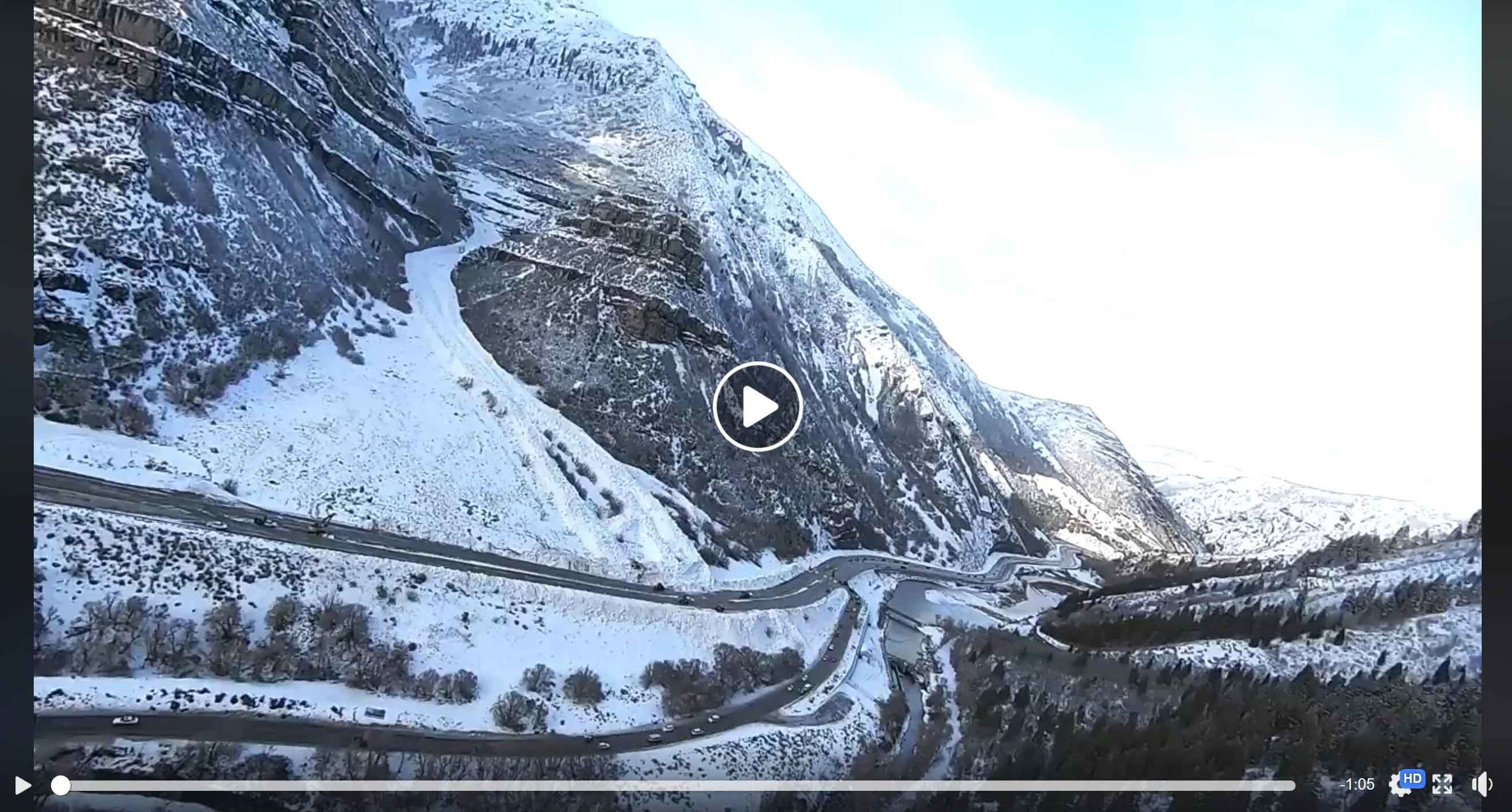 """Video on Facebook  by Matt Galland - """"Provo Canyon Avalanche 2019."""" Video shot from a helicopter. (Posted Jan. 18, 2019)"""