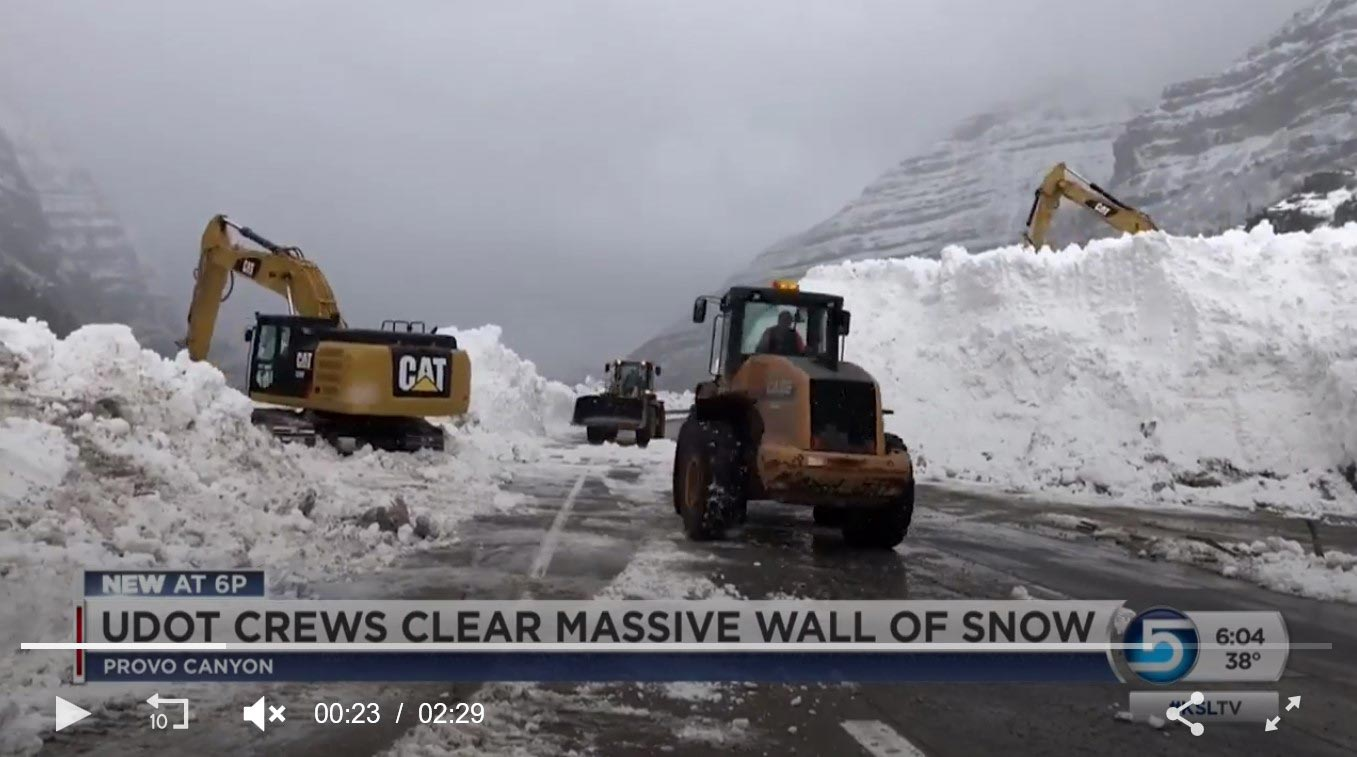 "Video on KSL News  - Provo Canyon Slide Cleanup. Same avalanche as in ""Provo Canyon Avalanche 2019"" above."