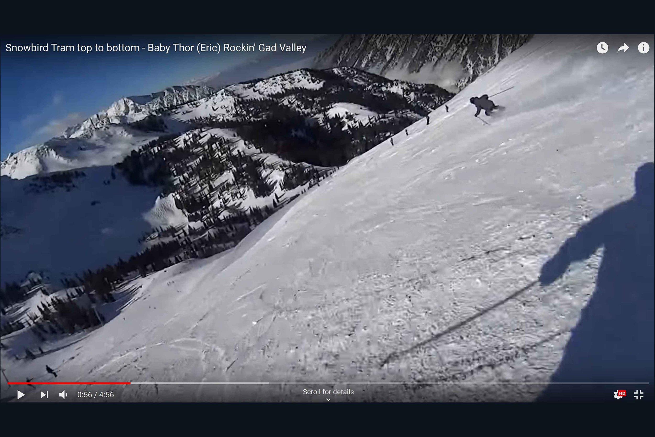 Snowbird Tram Top to Bottom - Baby Thor (Eric) Rockin' Gad Valley