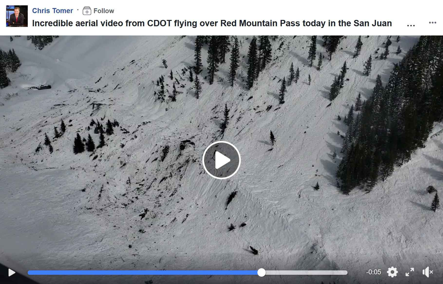 Facebook Video  – Incredible aerial video from CDOT flying over Red Mountain Pass today in the San Juan Mountains. Red Mountain Pass is closed indefinitely. It's avalanche after avalanche covering the road. CDOT mitigated 20 avalanche paths this weekend. You're looking at the Brooklyns Slide and others burying highway 550. – Chris Tomer, Colorado's Own Channel 2 and FOX31 Denver. Video: CDOT