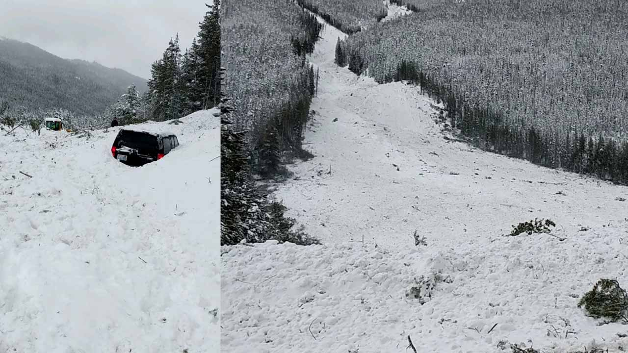 Multiple cars buried in avalanche.