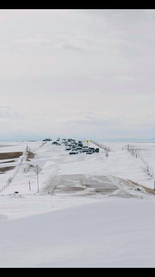 Cars stranded after the blizzard. Posted March 15, 2019. Photo: Josh Lyons.
