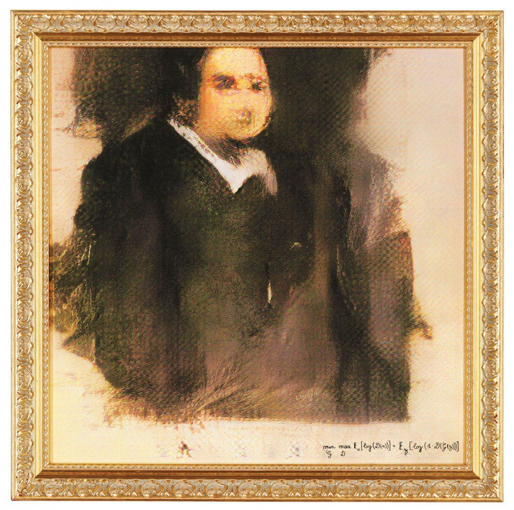 Portrait of Edmond Belamy (2018) – Created with AI algorithms called GANs by Parisian art collective Obvious, sold for $432,500.