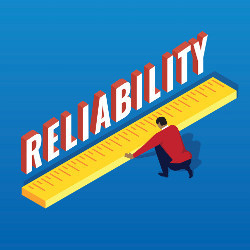 man with giant ruler measuring the word 'Reliability,' illustration Credit: Shutterstock