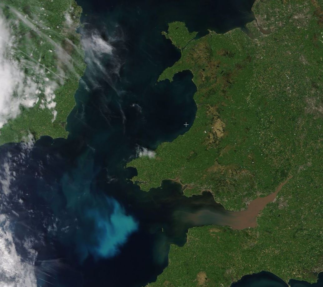 Satellite imagery from 26th May 2017 showing the plankton bloom off the coast of Wales