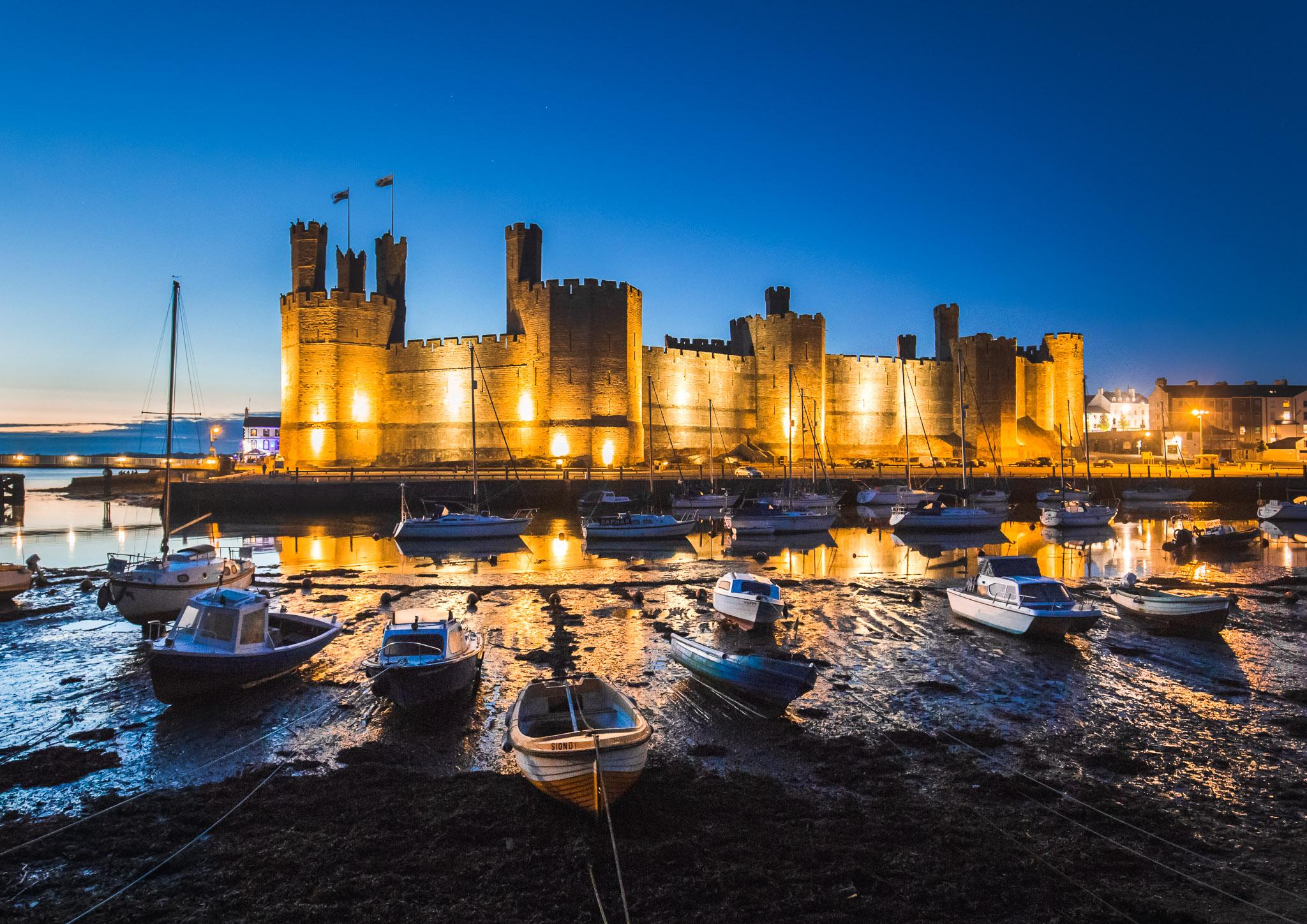 Caernarfon Castle in the Blue Hour