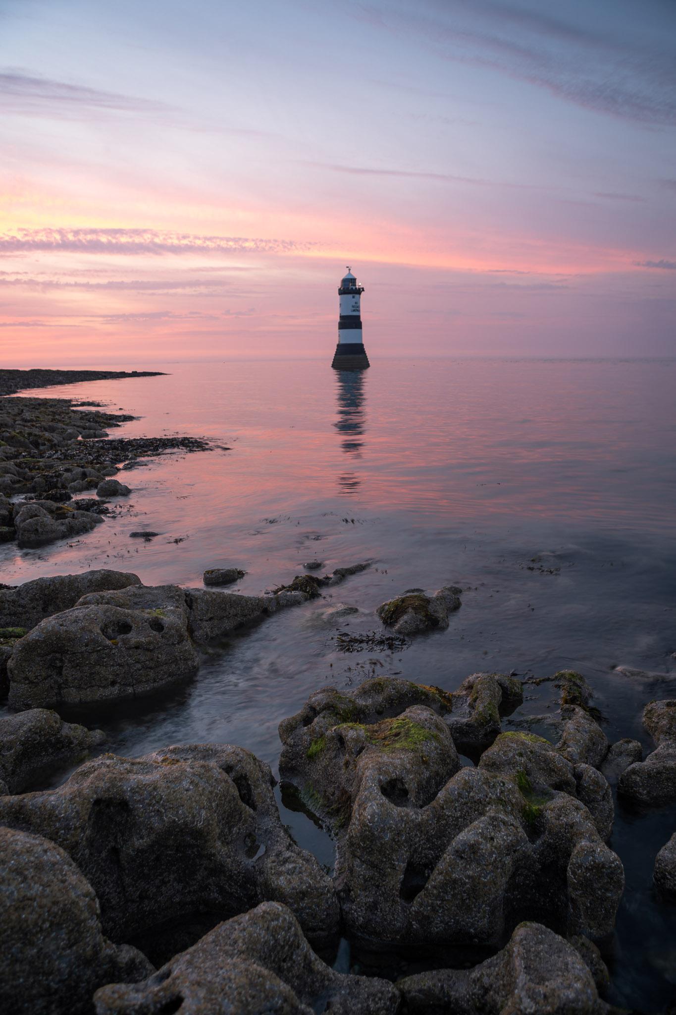 Penmon lighthouse at sunset