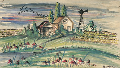 Imaginary Landscape  1946, watercolor on paper, 8.5x15 inches