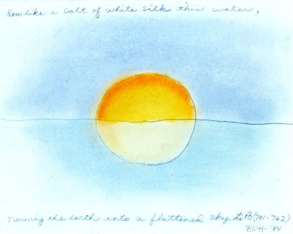 Li Po #4  1984, pastel on paper, 16x20 in   How like a bolt of white silk this water, turning the earth into a flattened sky