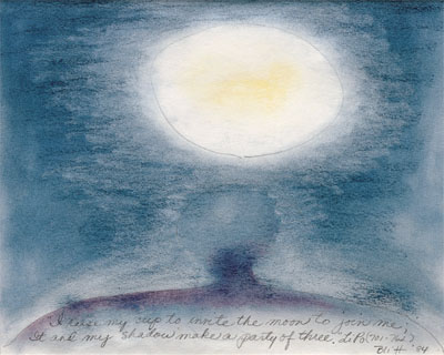 Li Po #6  1984, pastel on paper, 16x20in   I raise my cup to invite the moon to join me; It and my shadow make a party of three.