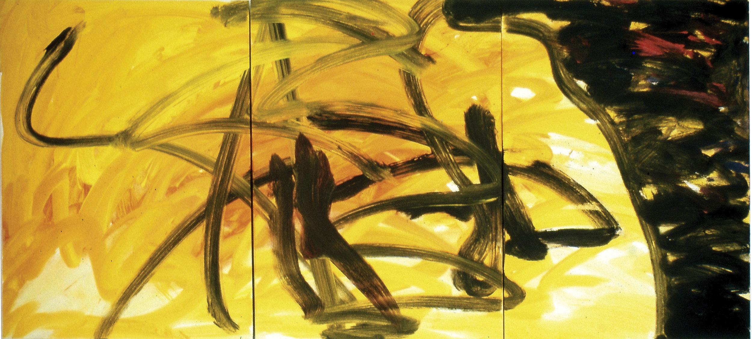 In Fear of War I  1991, acrylic on masonite, 32x72 in In the collection of the Dallas Holocaust Museum