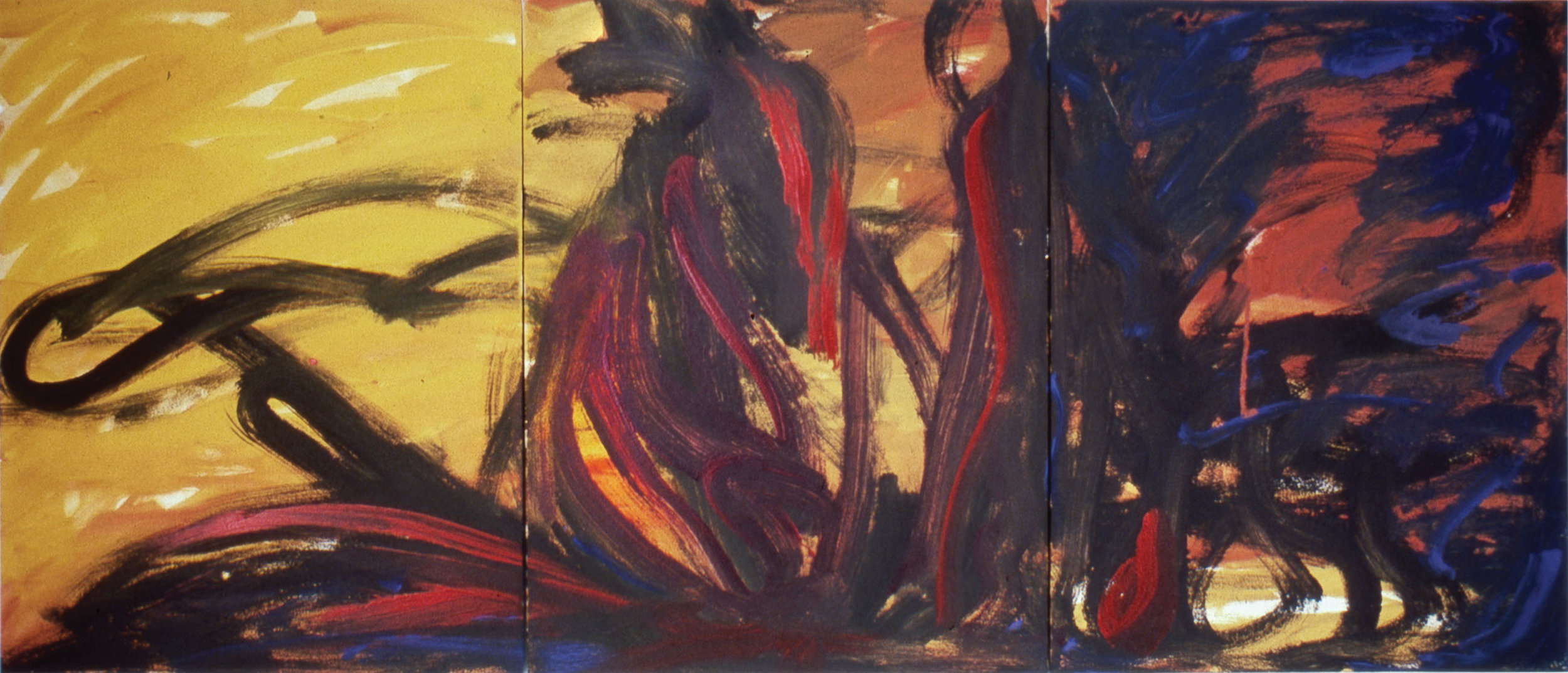 In Fear of War II  1991, acrylic on masonite, 32x72 in In the collection of the Dallas Holocaust Museum
