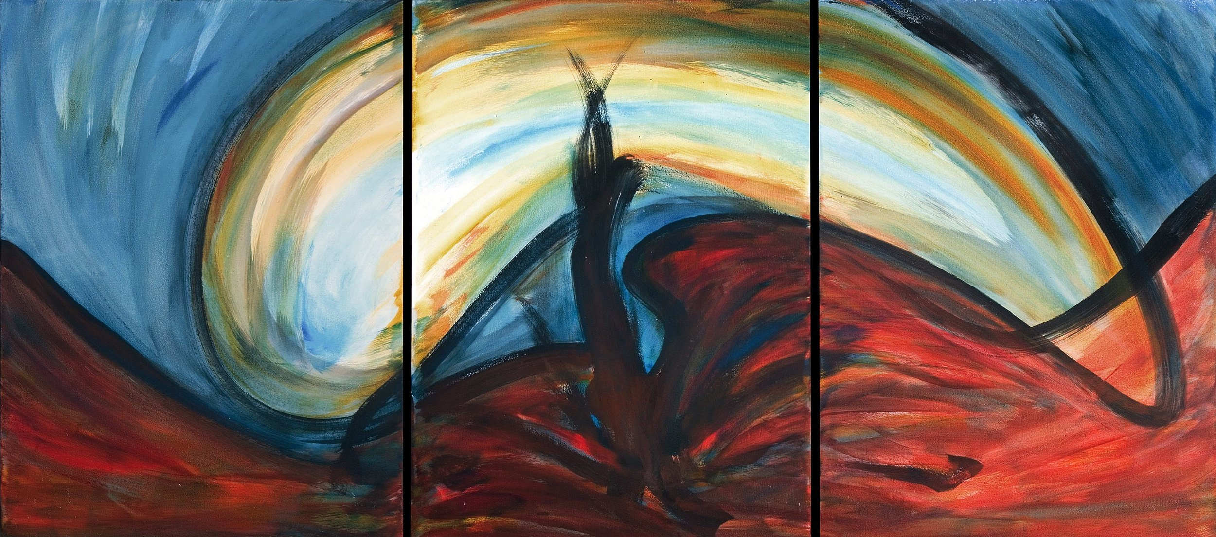 In Fear of War III  1991, acrylic on masonite, 32x72 in In the collection of the Dallas Holocaust Museum
