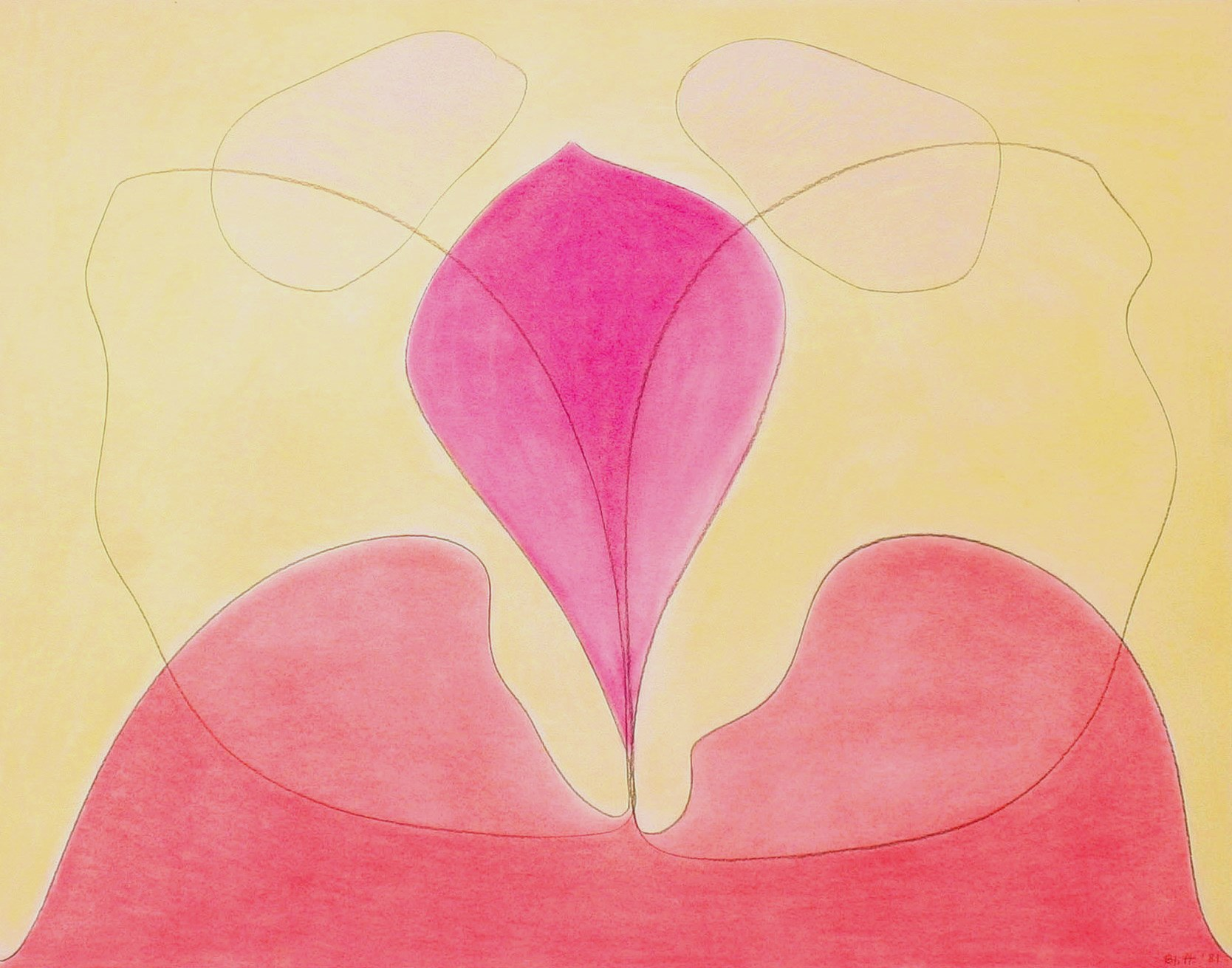 Emerging Center  1981, pastel on paper, 32x40 in