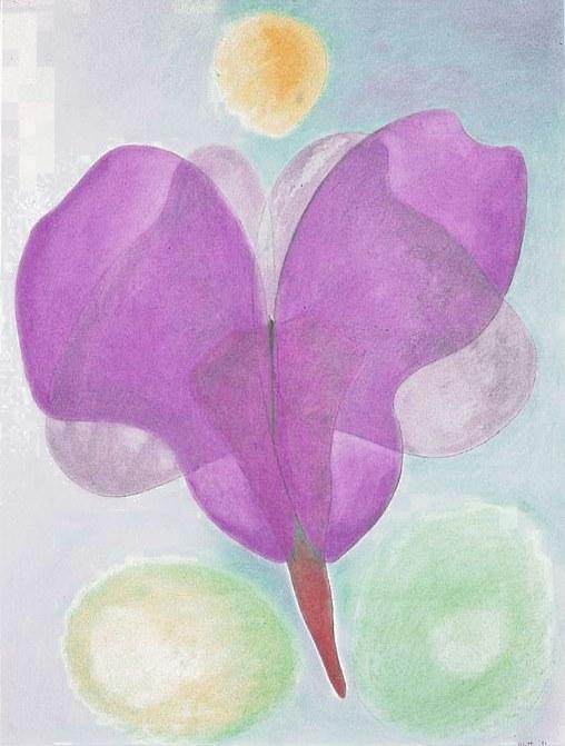 Unfolding  1981, pastel on paper, 40x25 in