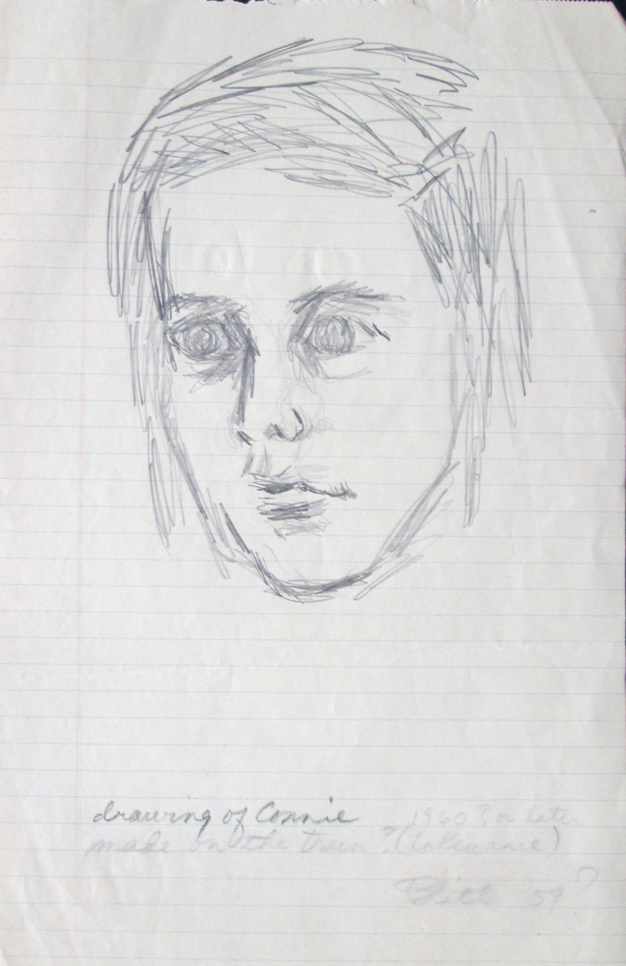 Drawing of Connie (Chela) on train to Kewanee  1959, pencil on paper, 13x8.5