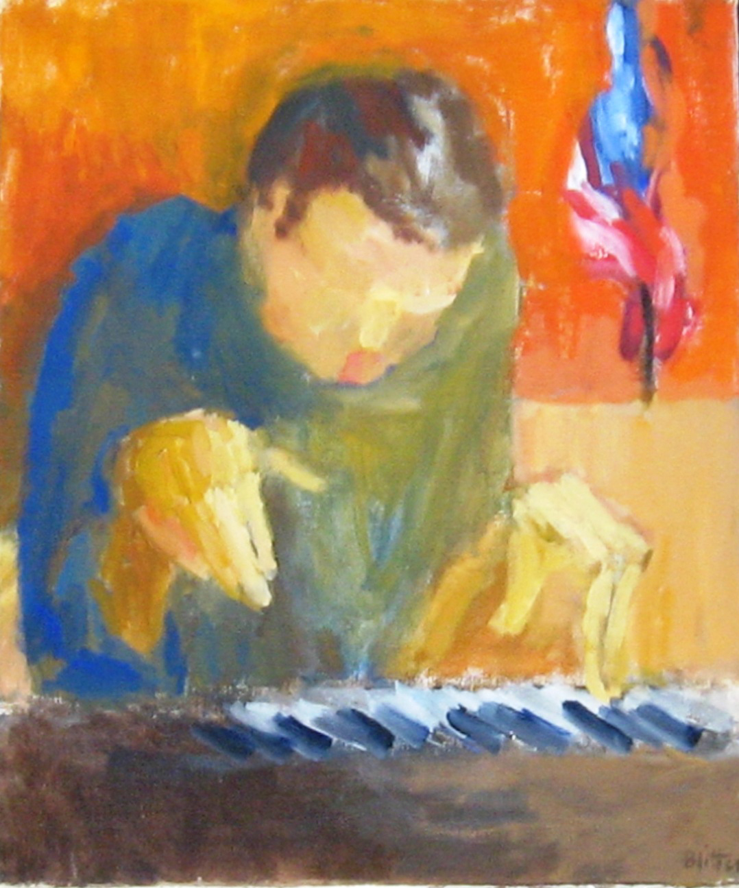 Young Man Playing Piano  1964, oil on canvas, 24x20 in