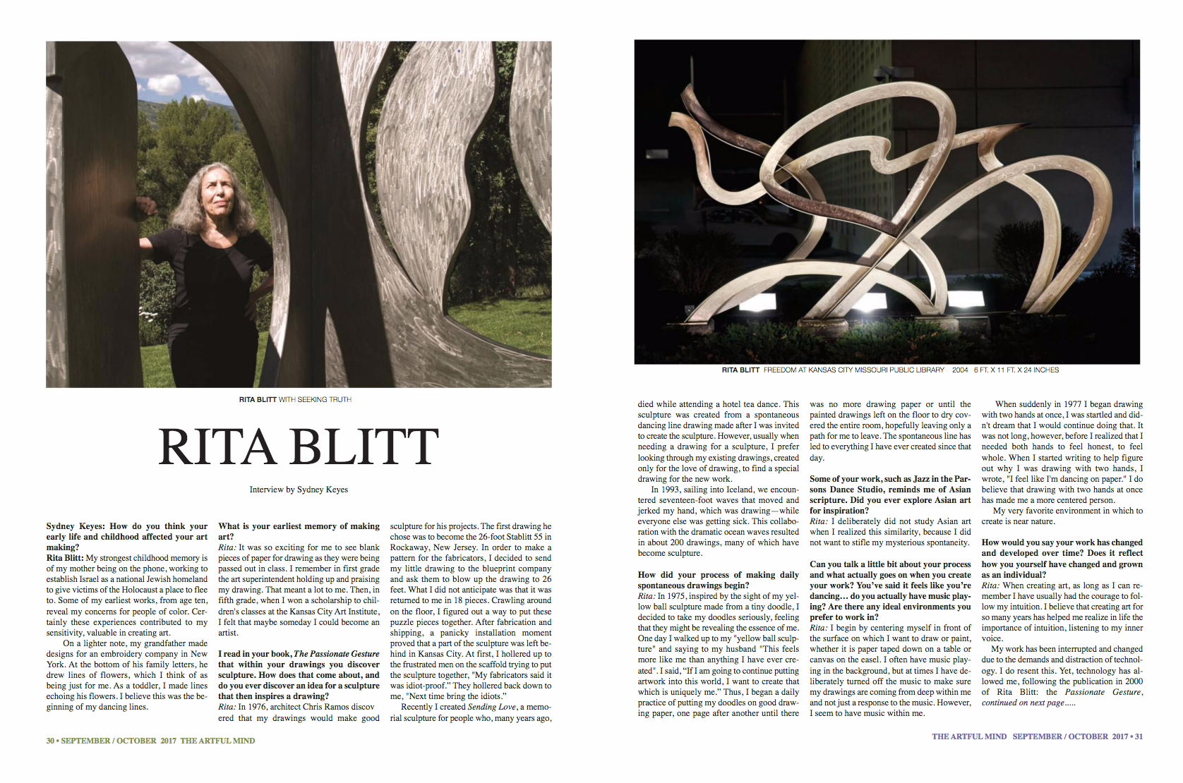 The Artful Mind interviewed Rita Blitt for its Sept/Oct 2017 issue.