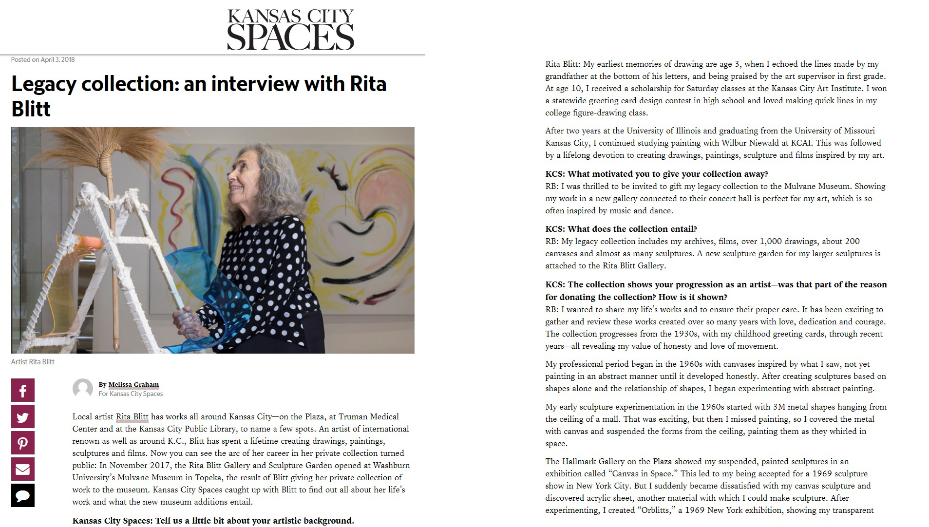 Kansas City Spaces interviewed Rita Blitt for its April 3, 2018 issue.