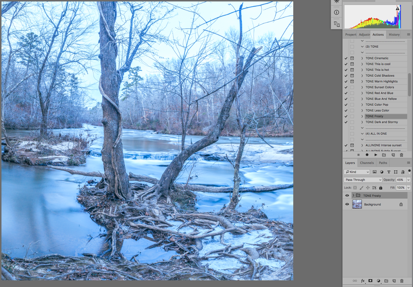 Frosty, reduced opacity. Really like this version. It was so cold. Looking at this makes me cold.
