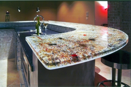 Fused glass bar top