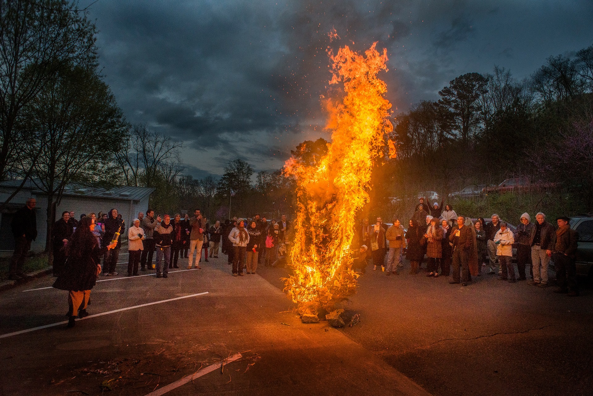 Burning a tree on top of Ruffner Mountain on the Spring Equinox, 2016. Photo by Walt Stricklin