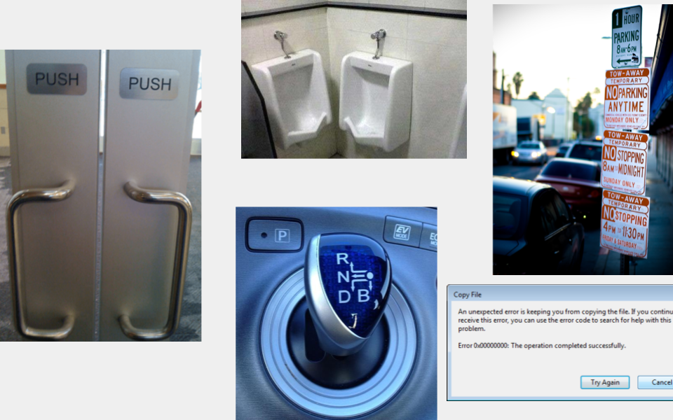 Examples of things not so well designed or thought out with the user in mind.