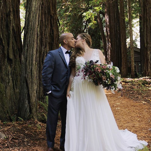 These two know how to pick a venue! Check out their pretty video - link in description #redwoods #redwoodwedding #redwoodswedding #forestwedding #outdoorwedding #californiawedding
