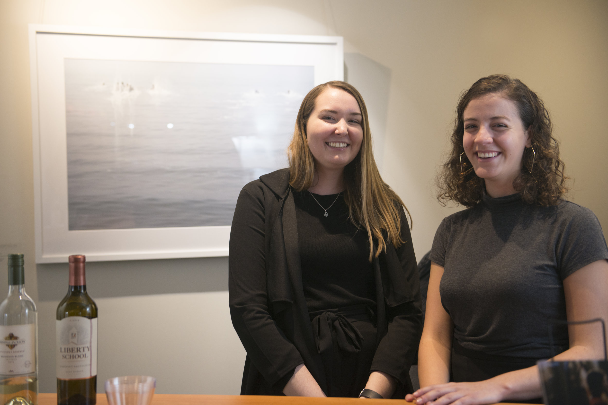Panopticon Gallery's Fall interns Maddie and Lauren at the opening reception.