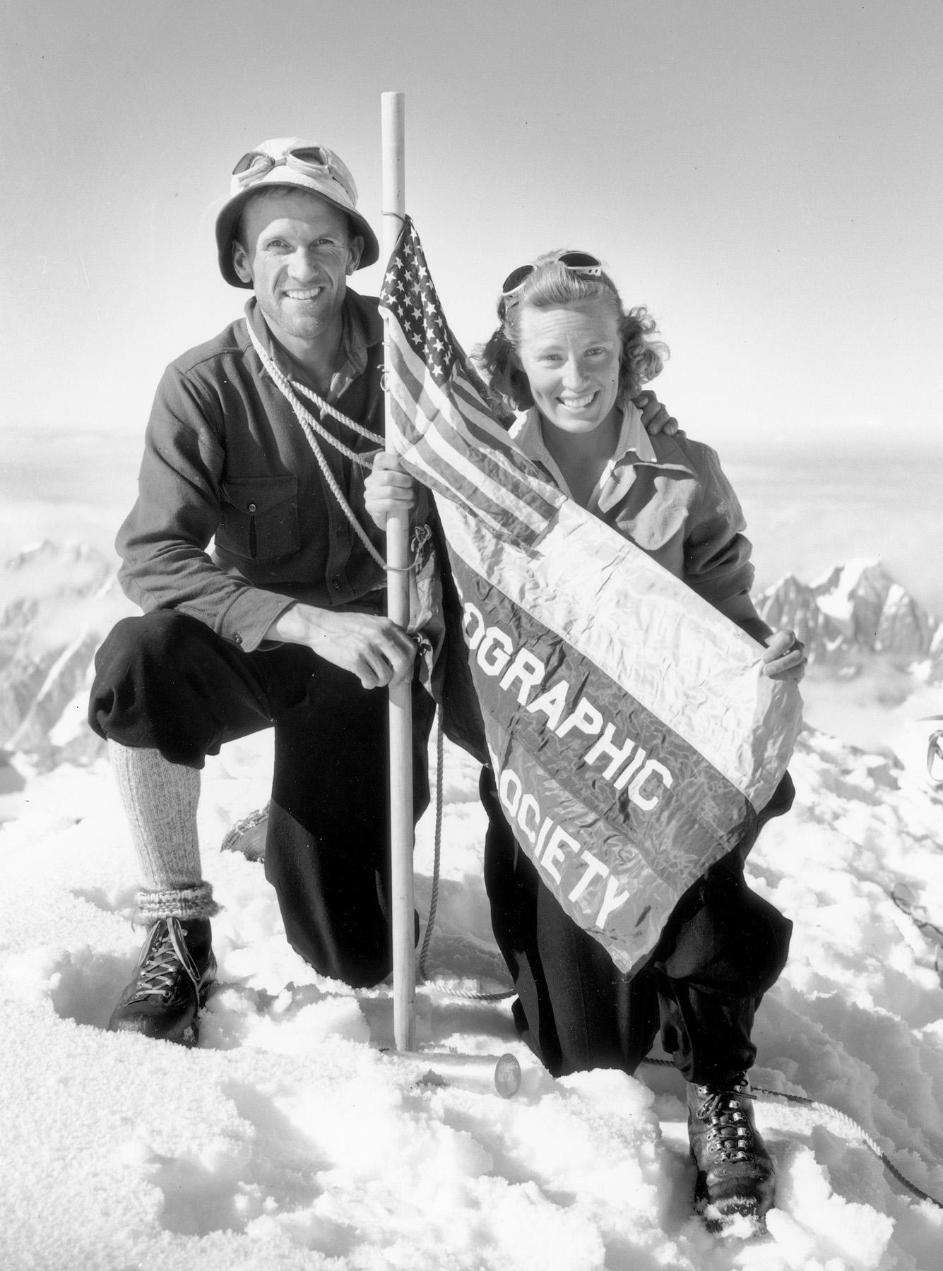 Washburn and his wife Barbara on the summit of Mt. Bertha, Alaska