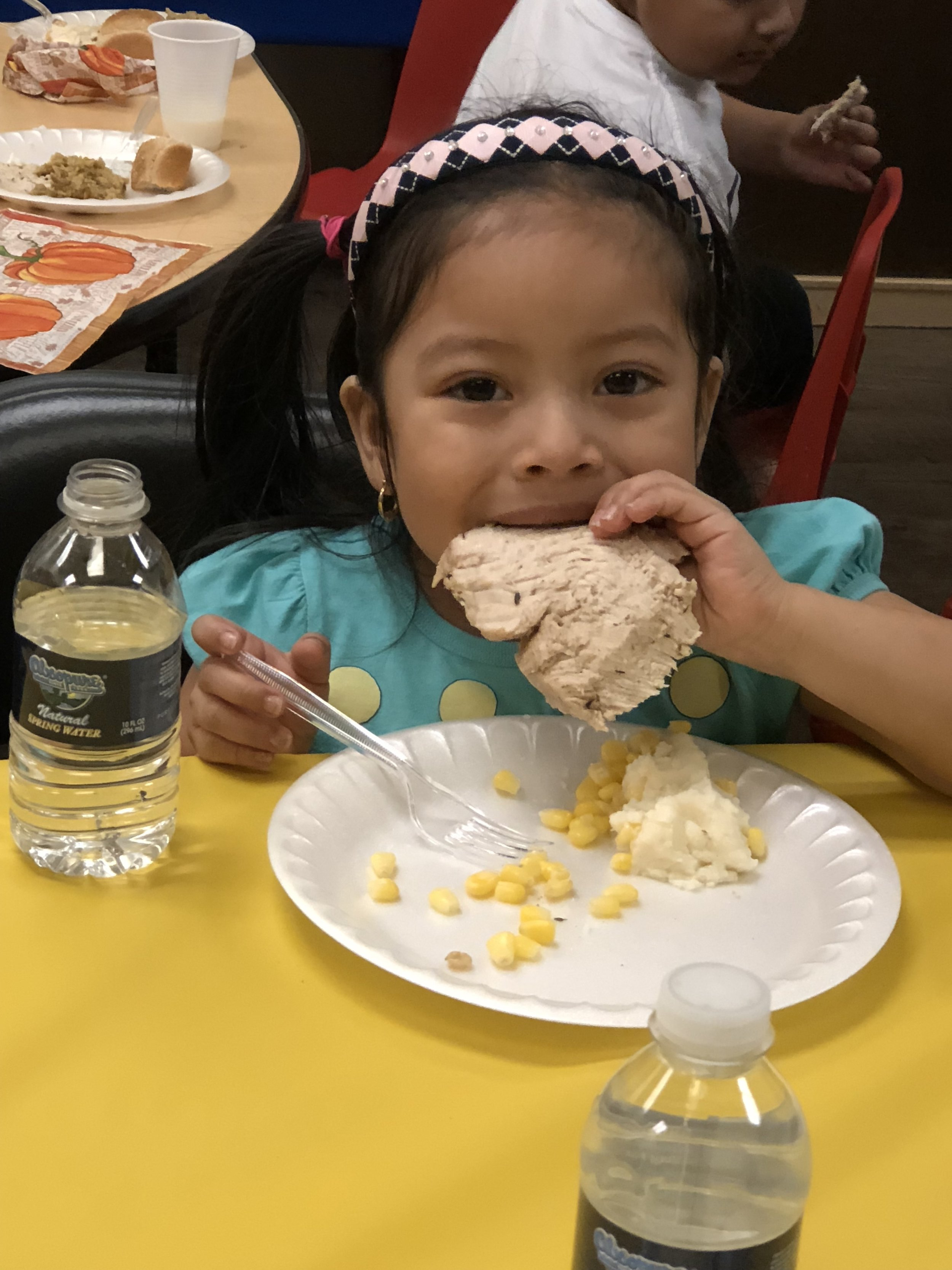 Rosy enjoys eating a piece of turkey.