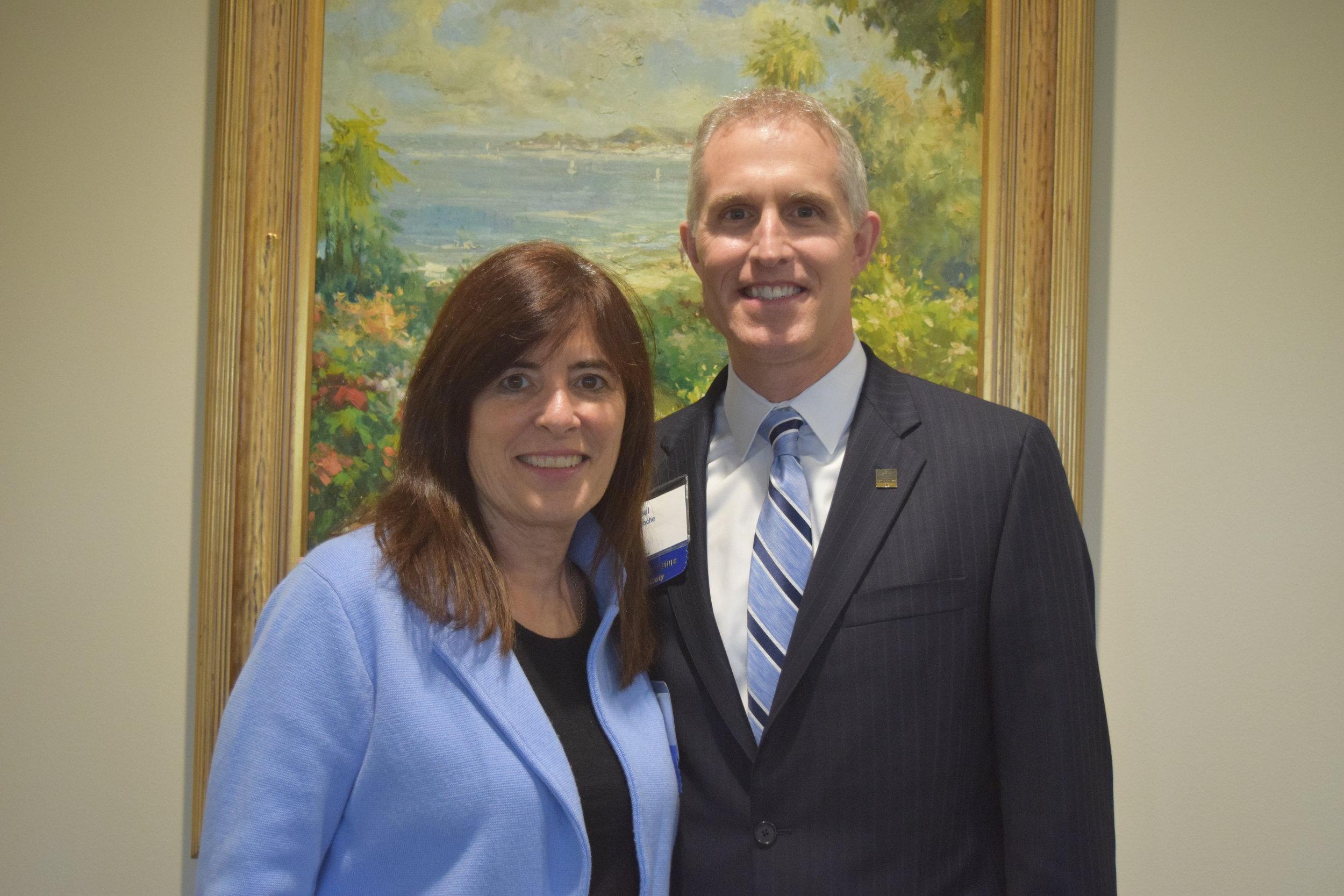 Board Chairman Betsy Meter with former Chairman Paul DeRoche.