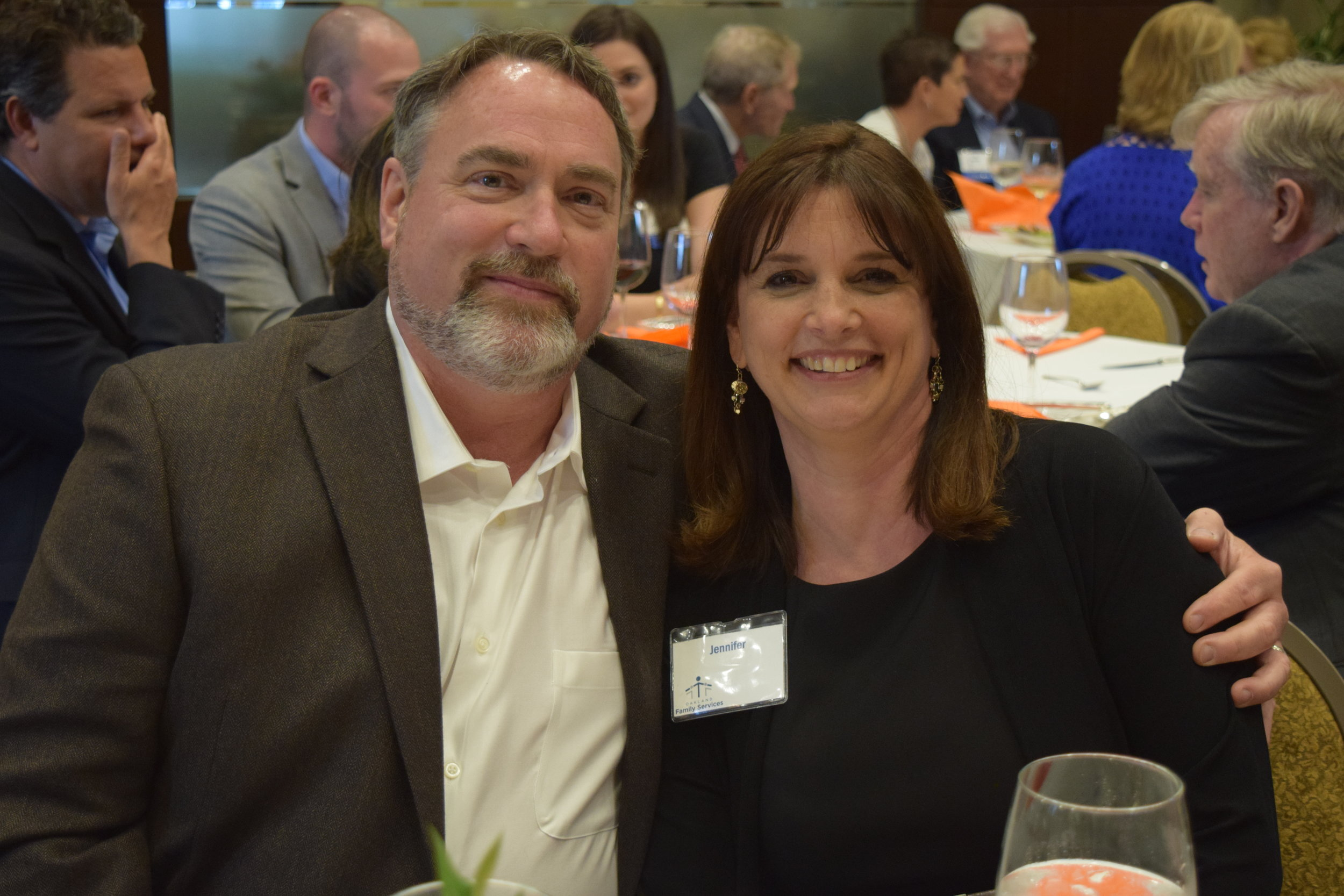 Jennifer with her husband, Mark, at Oakland Family Services' Celebration Event in June.