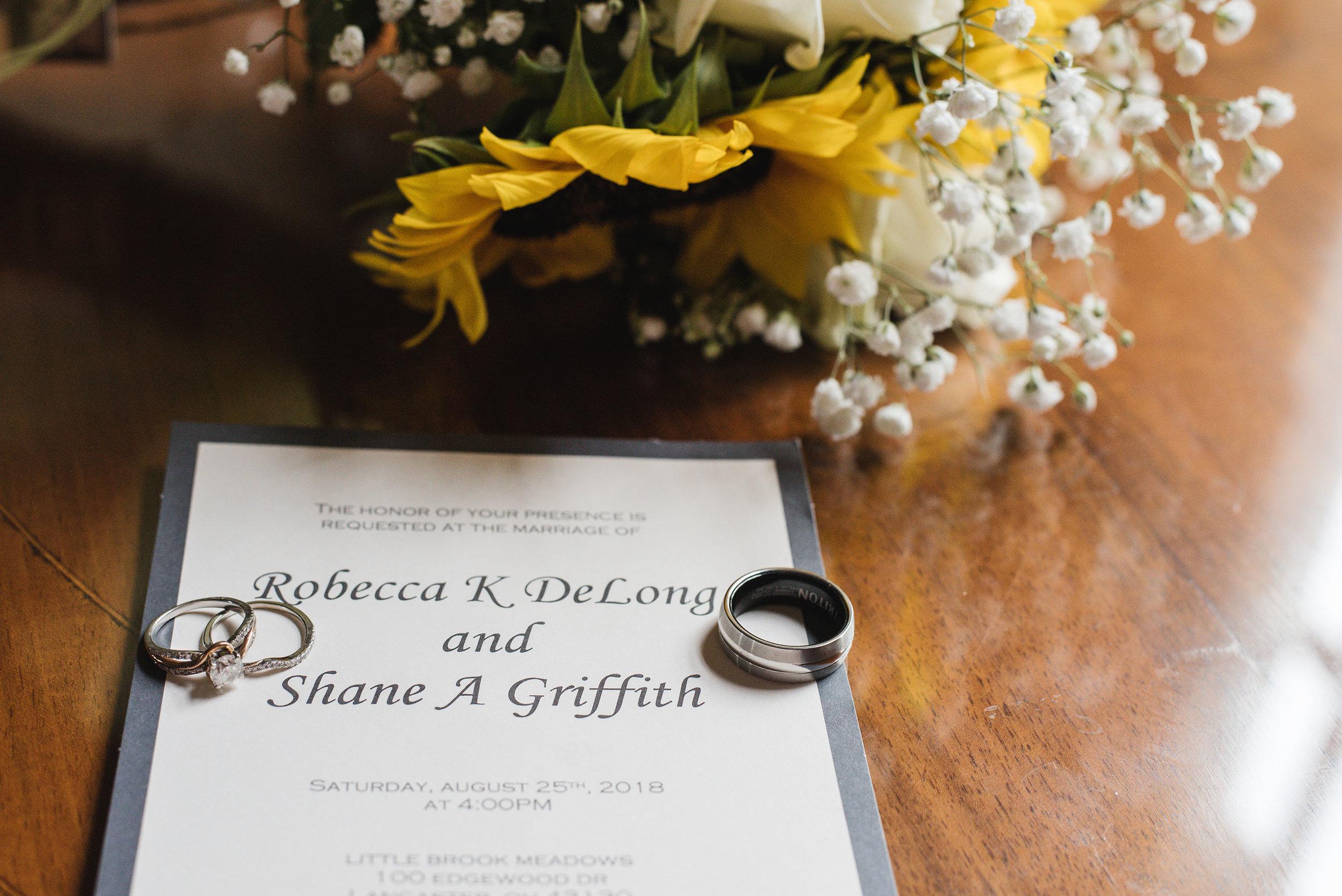 wedding invitation at wedding at little brook meadows lancaster ohio