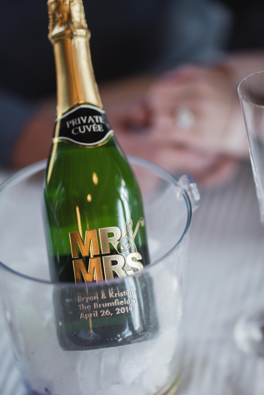 train champagne toast wedding photographer