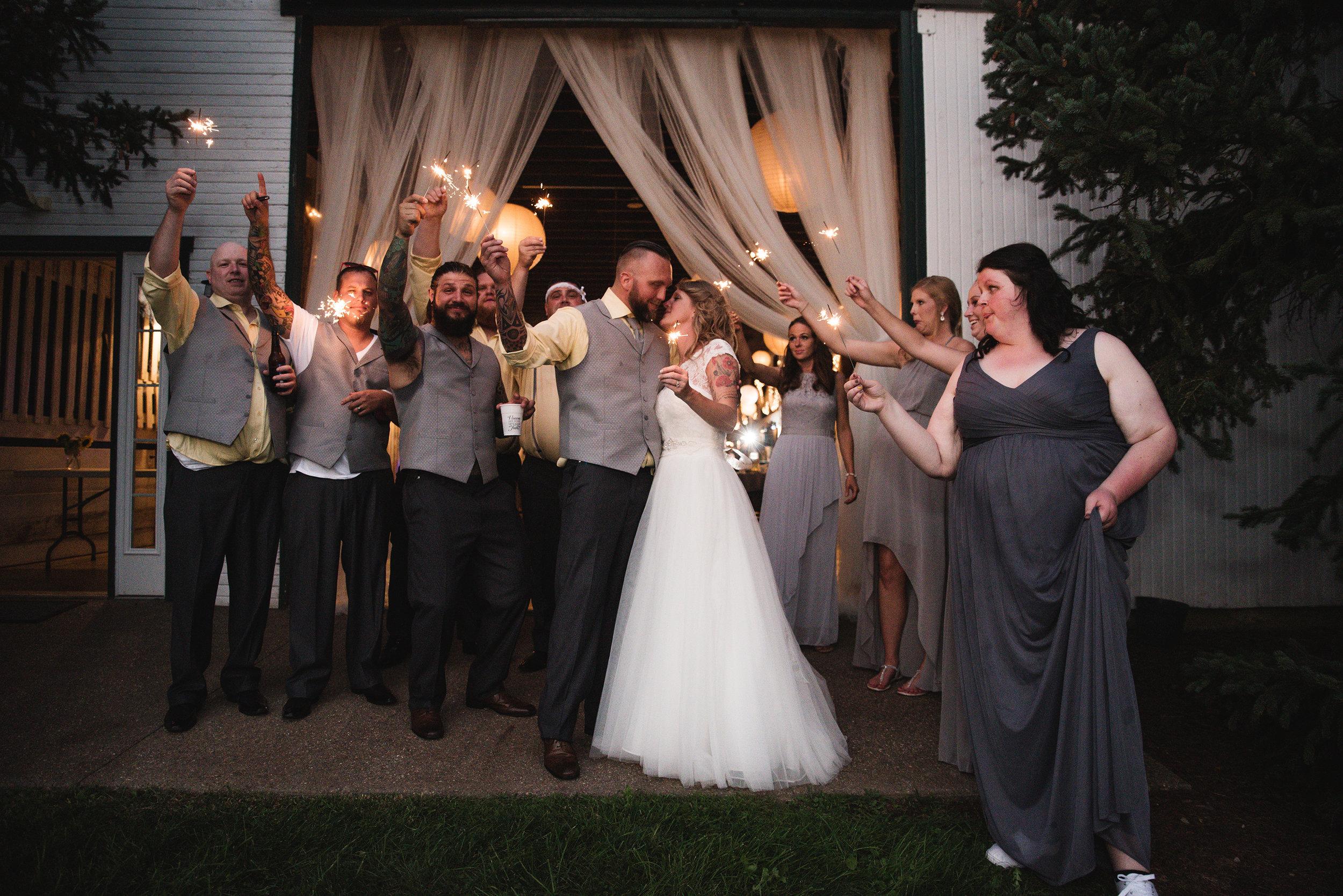 Sparkler exit wedding day photos