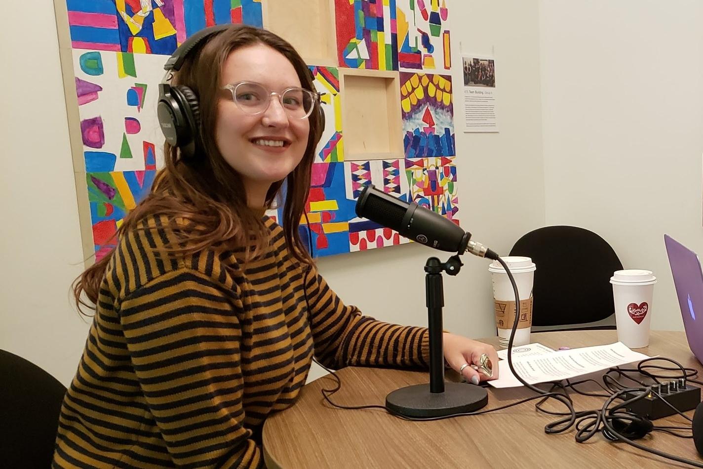 Kenzie Dutka of JobJar speaks with Alberta Podcast Network president Karen Unland at the ATB Entrepreneur Centre in Calgary on Sept. 12, 2018.