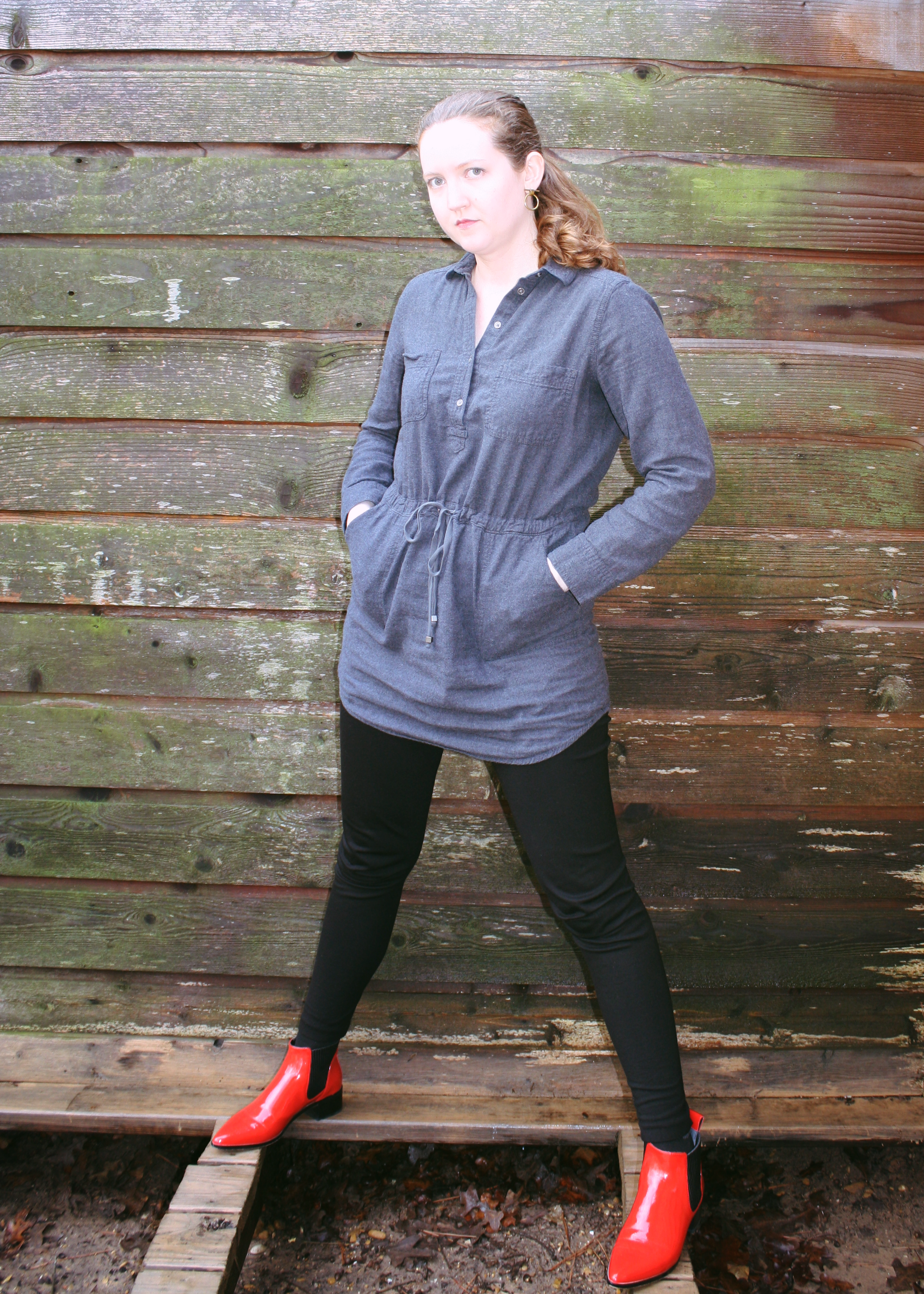 Dresses and trenches for rainy days LOFT grey shirt dress Red Dolce vita boots.png