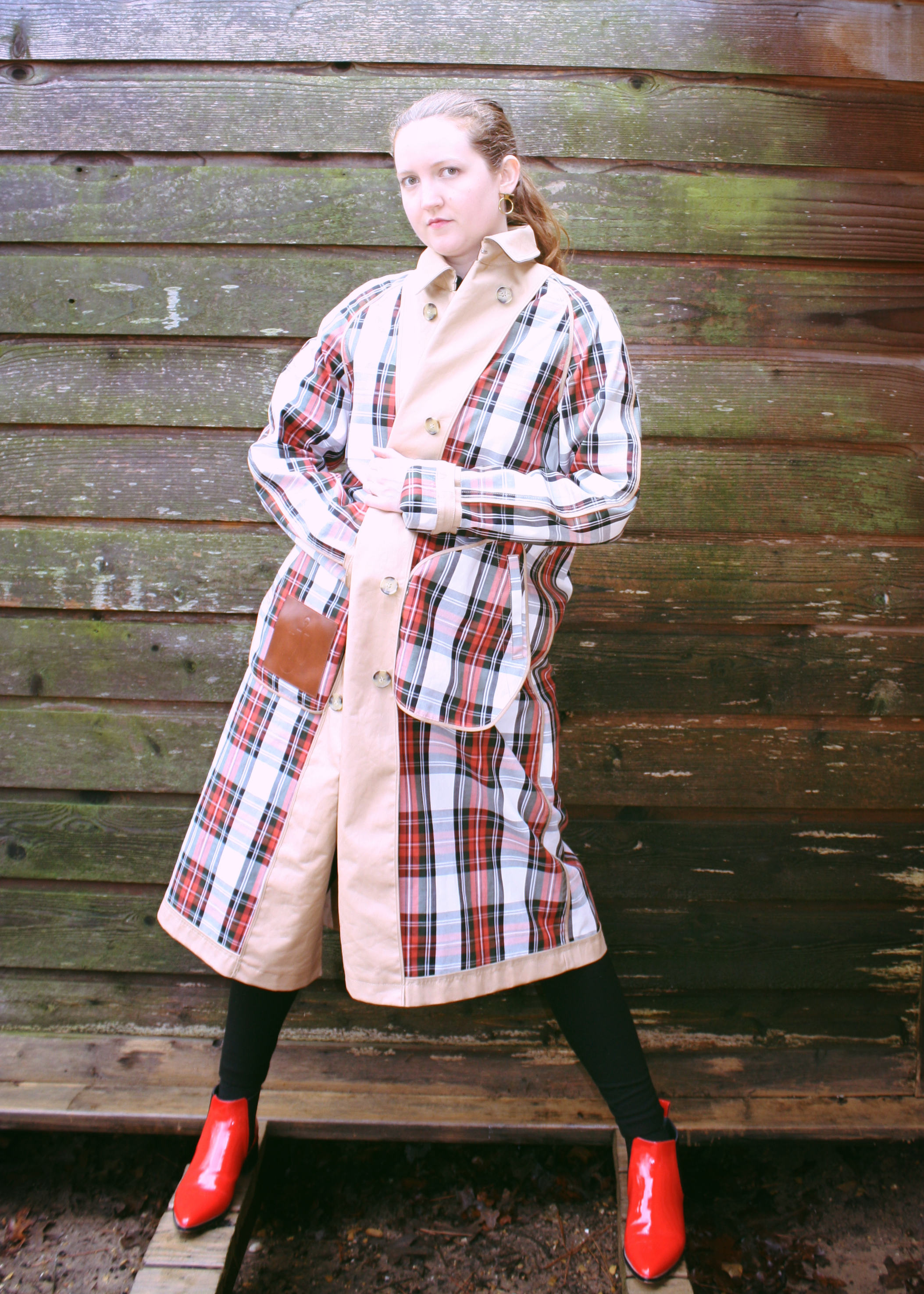 LOFT Gray Shirtdress + Dolce Vita Red Boots + J.W. Anderson & Uniqlo Trench